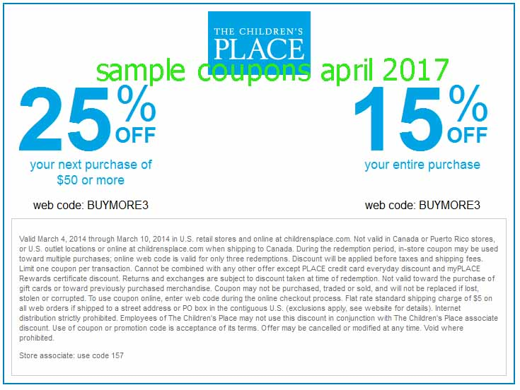 Children's place coupon code october 2018