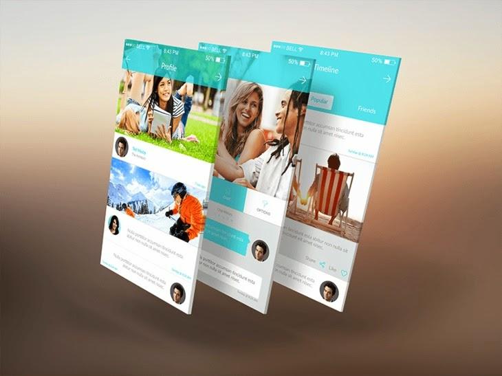 3D Mobile App Screens Mock-Up PSD
