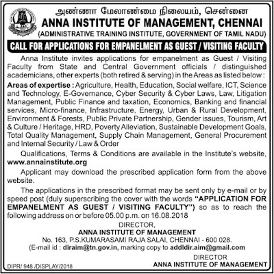 Anna Institute empanelment as Guest/Visiting Faculty Notification July 29, 2018, Dailythanthi