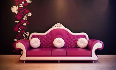 sofa warna pink mewah