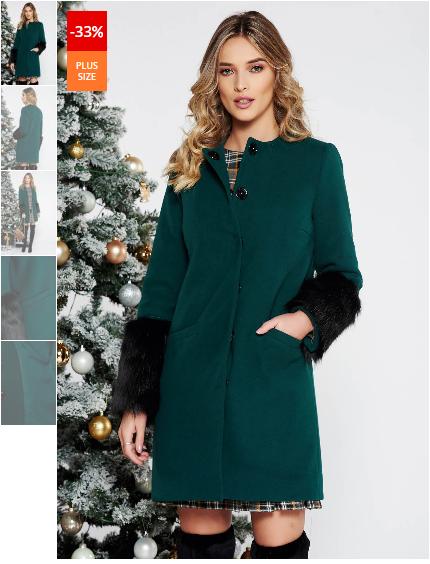 Palton scurt de dama verde elegant cu un croi drept din lana cu insertii cu blana ecologica