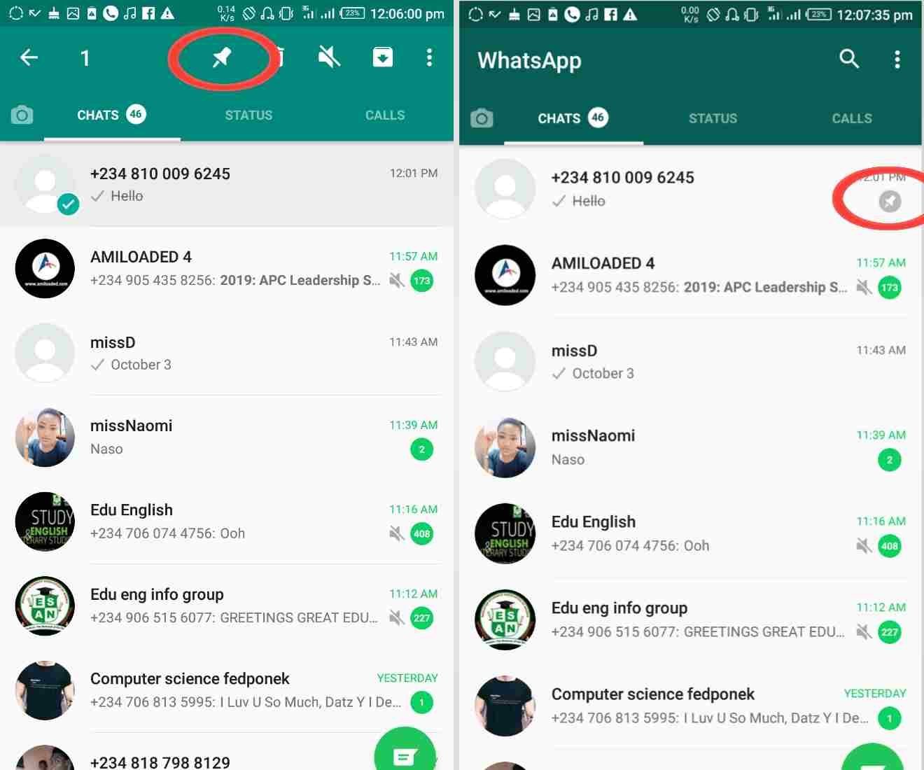 how to pin a contact to the top of whatsapp list