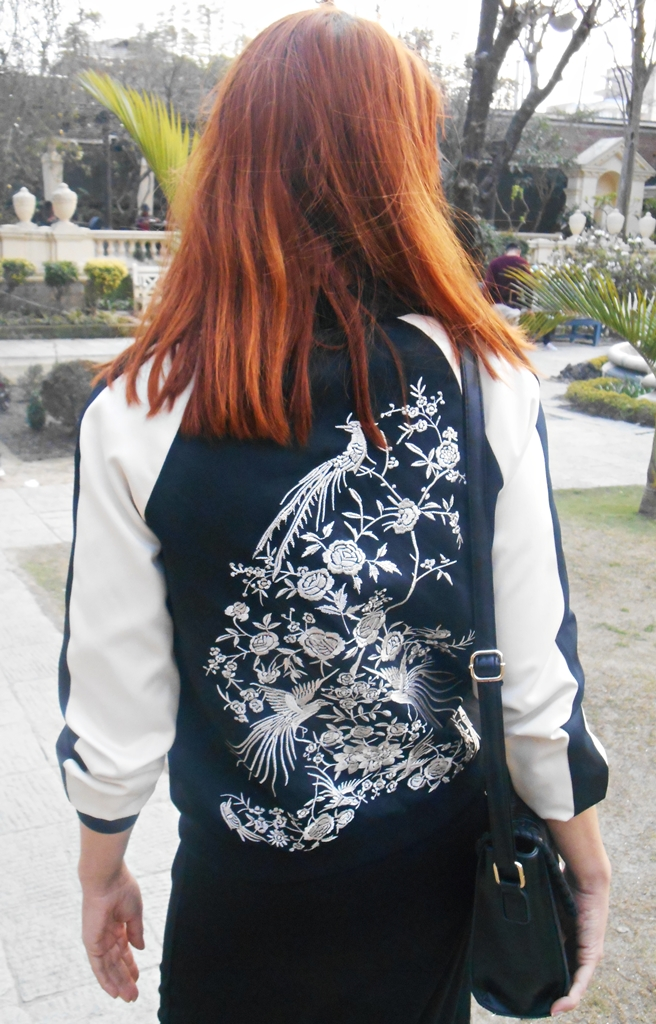 Japanese motifs embroidered bomber jacket