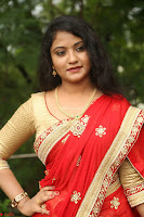 Akshara in Red Saree Golden Choli at LV Movie Makers Production No 1 Movie Opening ~  Exclusive 023.JPG