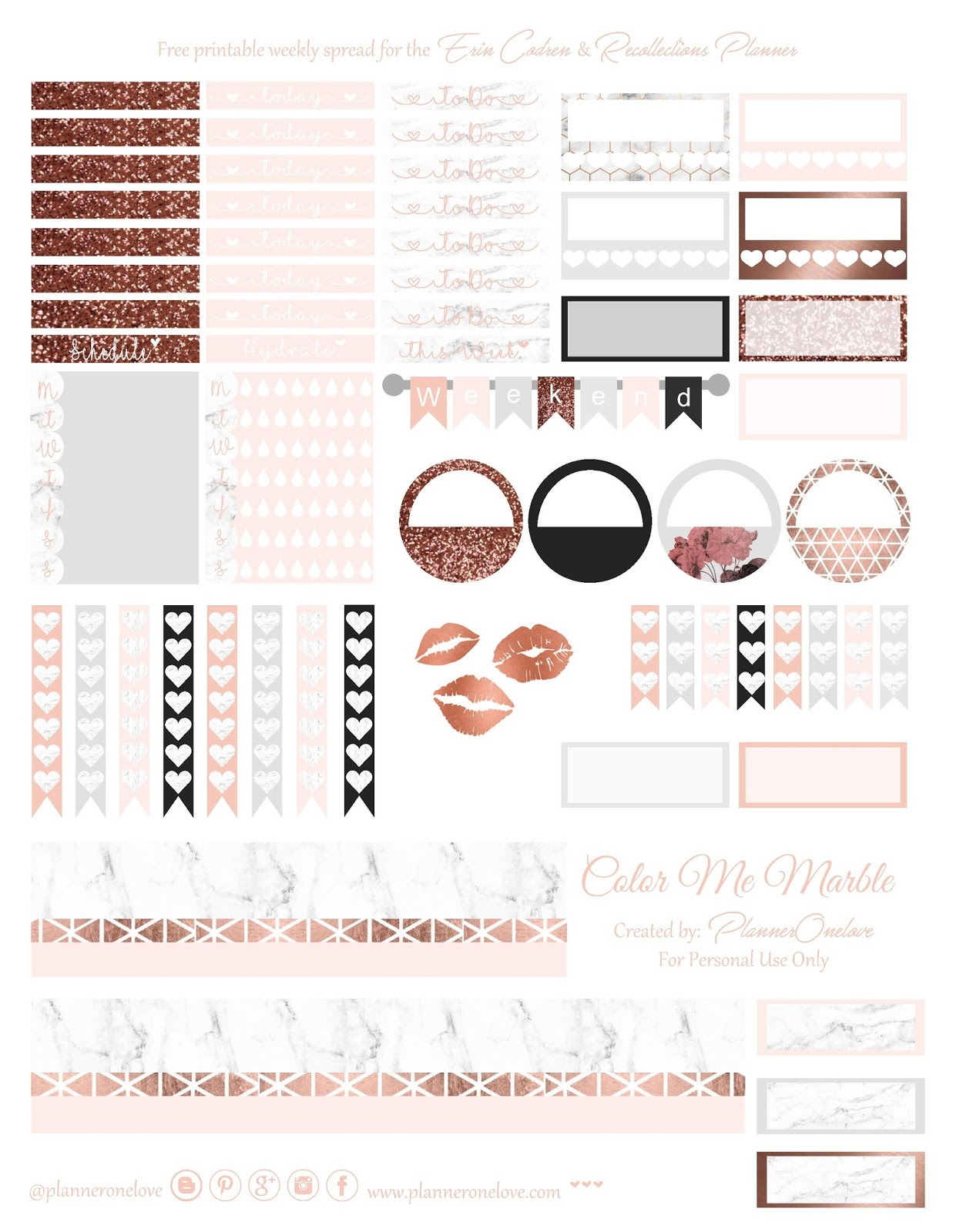 Free Marble & Rose Gold printable spread for Erin Condren ...