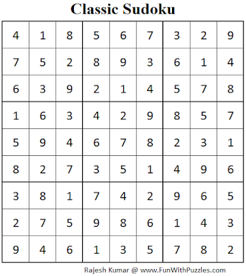 Classic Sudoku (Fun With Sudoku #76) Solution