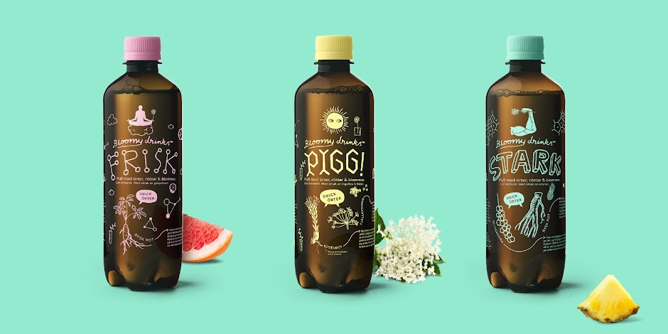 bloomy drinks packaging design