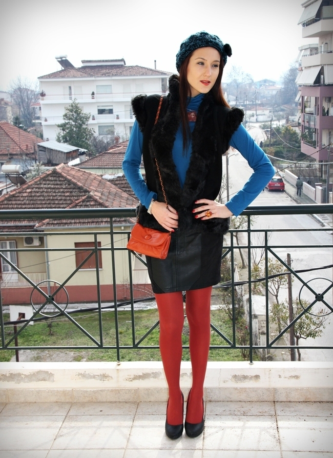 Petrol Blue Black and Brick Orange outfit ideas