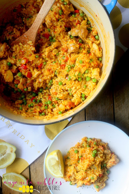 This 20 minute, one-pot Spanish rice dish is full of succulent chicken and chorizo and will be a new family favourite! It's also naturally gluten free and dairy free, too!