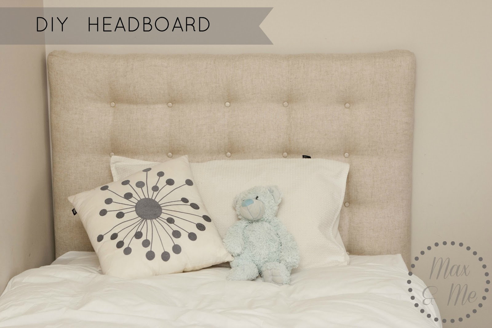 max me diy headboard and bed make over. Black Bedroom Furniture Sets. Home Design Ideas