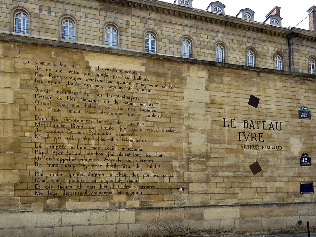 Le Bateau ivre, The Drunken Boat, by Arthur Rimbaud, as a wall poem in rue Férou, Paris
