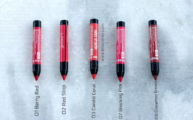 Lakme Enrich Lip Crayons | Swatches & Review 01 Berry Red, 02 Red Stop, 03 Candid Coral, 07 Shocking Pink, 09 Cinnamon Brown.