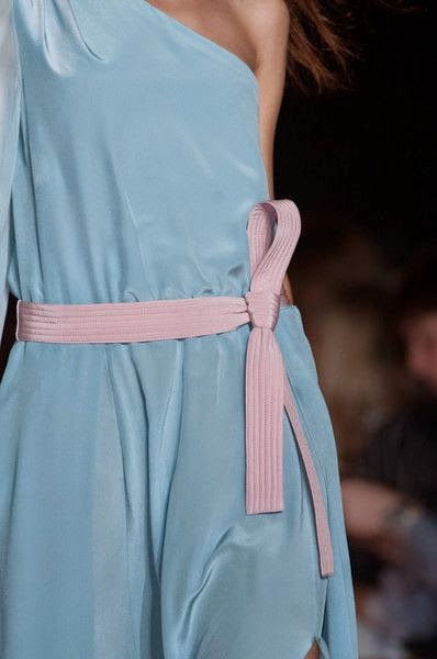 Silk Dress with Obi Belt in Pastel Shades at NY Fashion Week Spring 2015