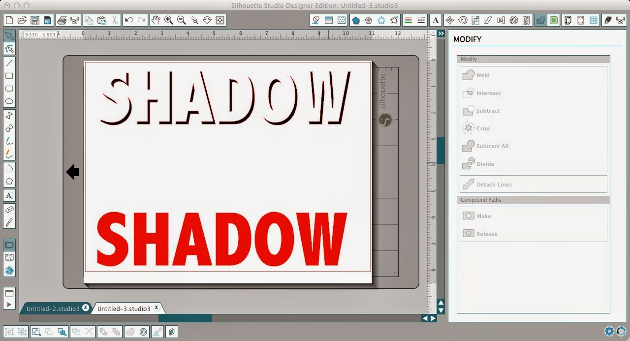 Silhouette Studio, shadow tutorial, modify, subtract