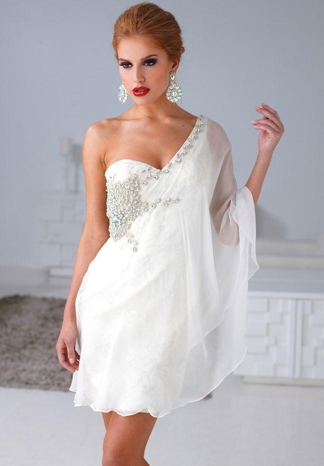 d9de1ea1450 White One Shoulder Short Cocktail Dresses | Best Dresses 2019