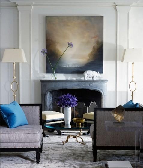 Abby Manchesky Interiors Blue Sofa Amp Grey Walls