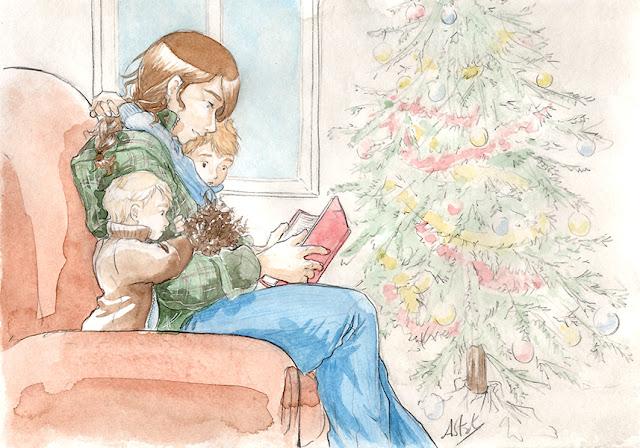 Céline, Lancelot et Arthur -Illustration par la fenêtre