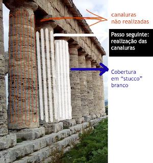 grafica colonne non finite - Área arqueológica de Segesta na Sicília