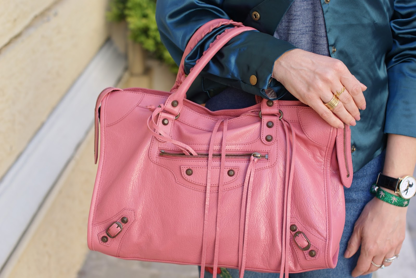 Balenciaga City pink bag on Fashion and Cookies fashion blog, fashion blogger style