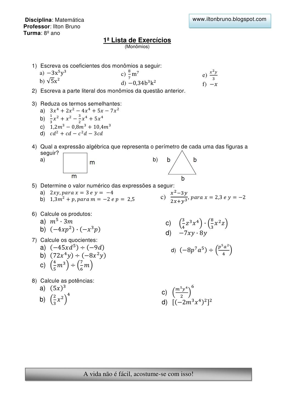 Listas De Exercicios Monomios E Polinomios Atividades De Matematica