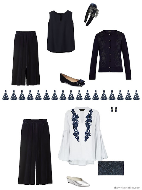 2 outfits in navy for the December and January holidays