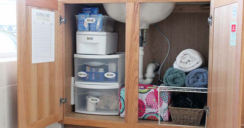How to organize bathroom cabinets with free printables sunny day family for How to organize bathroom cabinets