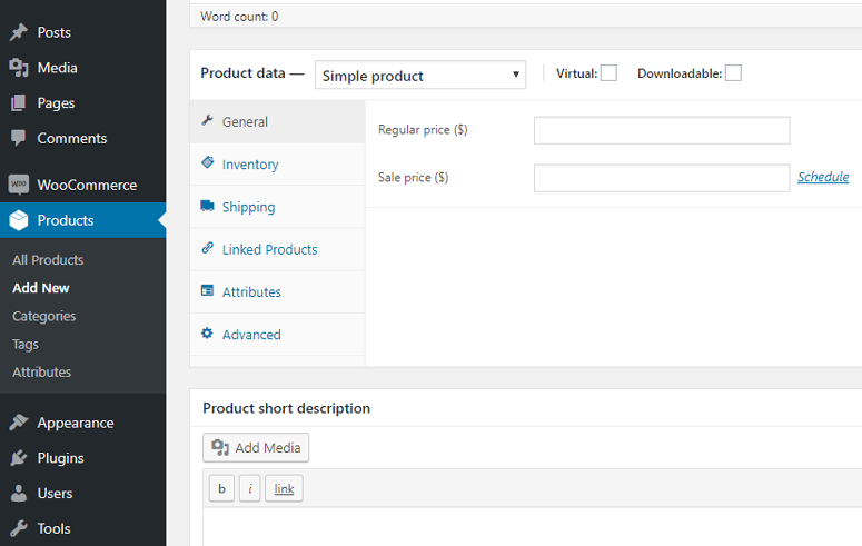 data produk woocommerce