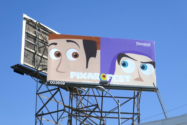 Woody Buzz Pixar Fest Disneyland billboard
