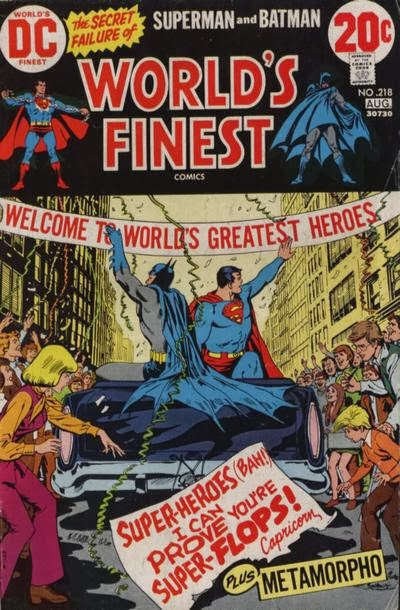 World's Finest #218, Batman and Superman sit atop a car in a ticker tape parade as a note from Capricorn taunts them, Nick Cardy cover, DC Comics