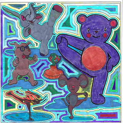 Yoga Teddy Bear, coloring books, coloring contest, yoga poses, balancing poses