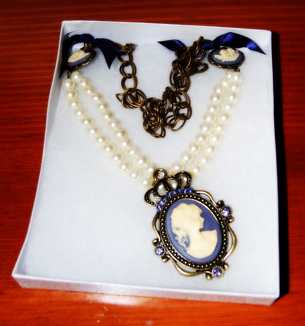 SewPetiteGal Cameo Pendants & Pearls on a Chain Necklace