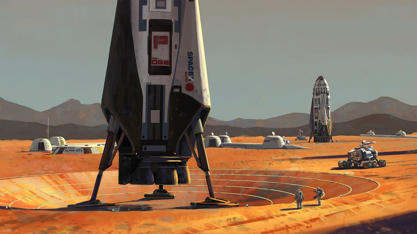 SpaceX ITS spaceships at Mars Base Alpha by Maciej Rebisz