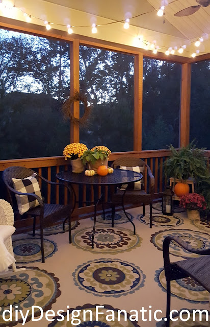 screened porch, cottage, cottage style, farmhouse, farmhouse style, Fall, Fall Decorating,  Cat Cave, Lighted Grapevine Orb