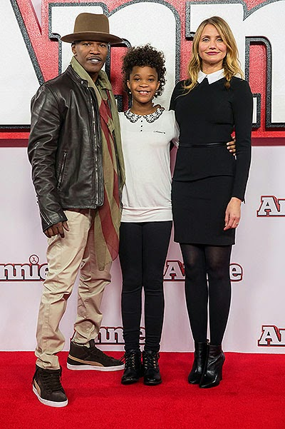Cameron Diaz, Jamie Foxx and Quvenzhané Wallis Photo call for the musical 'Annie' in London