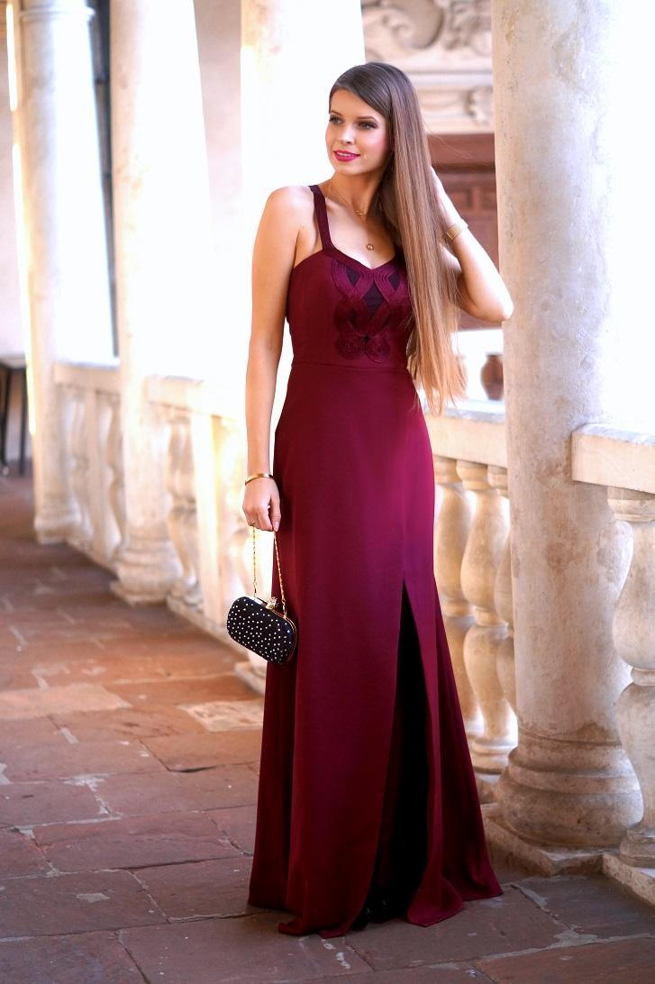 Only My Fashion Style D Uga Bordowa Sukienka