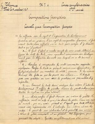 Cahier de compositions françaises, cours complémentaire, élève G. Thomas, 1922 (collection musée)