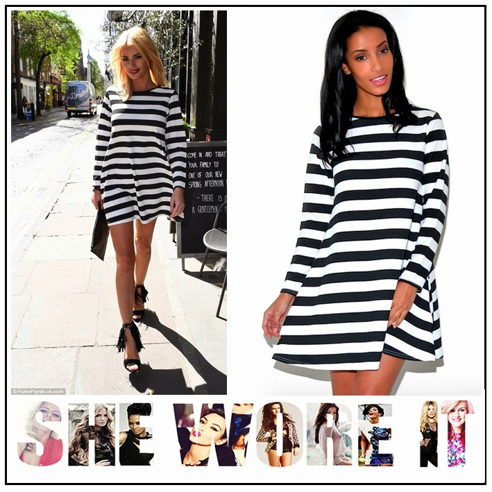 Black, Celebrity Style, Celebriy Fashion, Chloe Sims, Coco and Cleo, Mini Dress, Monochrome, Swing Style, The Only Way Is Essex, TOWIE, Vertical Stripe, White,
