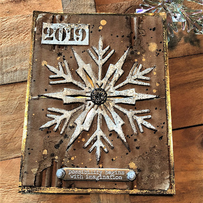 Mixed Media Techniques Tutorial by Sara Emily Barker for The Funkie Junkie Boutique https://frillyandfunkie.blogspot.com/2019/01/saturday-showcase-easy-mixed-media.html Tim Holtz Sizzix Alterations Ice Flake 12