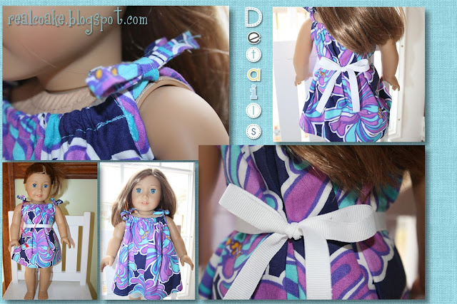 American Girl Doll pattern to make a darling drawstring dress. #AmericanGirlDoll #Sewing #RealCoake