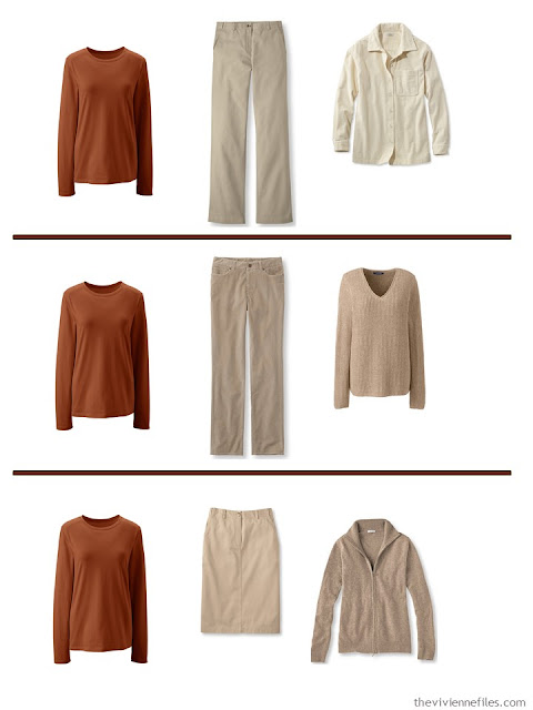 3 ways to wear a pumpkin tee shirt with a A Common Wardrobe in soft, warm colors