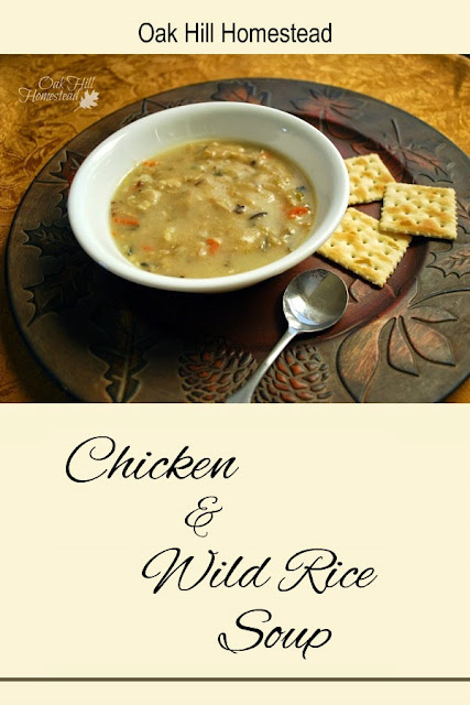 Chicken and wild rice soup with fresh mushrooms