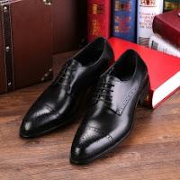 daftar harga sepatu pria terbaru Wetan Shoes - Sepatu Pantofel Oxford Kulit Asli untuk Kerja dan Pesta - Hitam