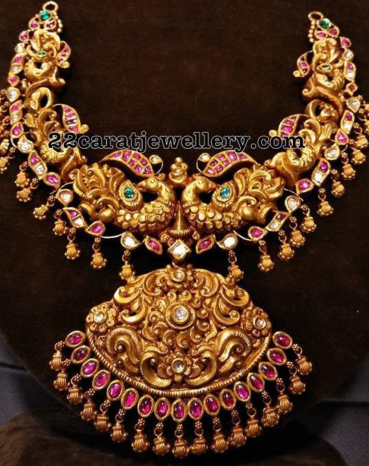 nakshi design peacock necklace