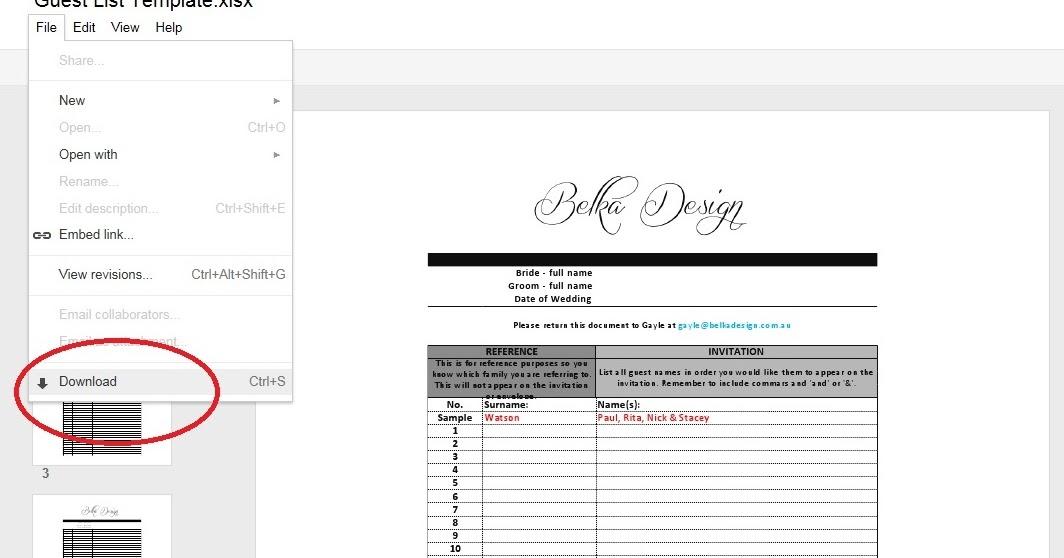 Belka Design: Guest List Template