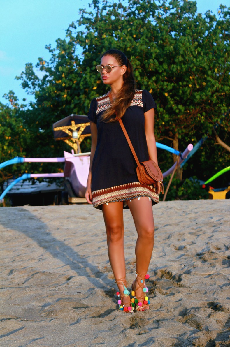 Tamara Chloé, Chloé Bag, Mini Marcie tan, Mabu By Maria BK pompom sandals, Bali, Kuta beach