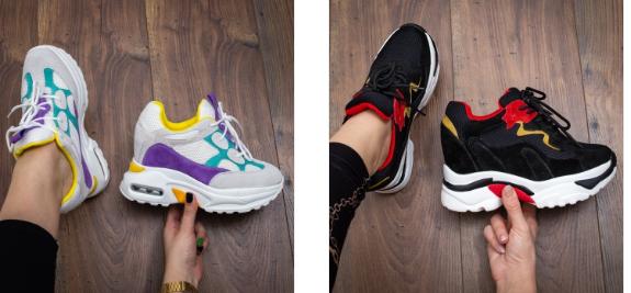 Sneakers moderni multicolor, negri cu talpa groasa si perna de aer