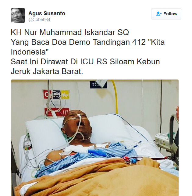 "KH Nur Muhammad Iskandar SQ Pembaca Doa ""Parade Kita Indonesia""  Dirawat Di ICU RS Siloam?"