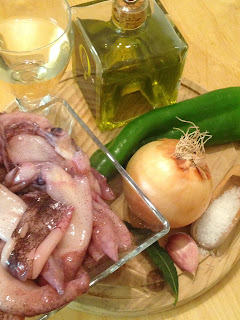 Chipirones encebollados, ingredientes