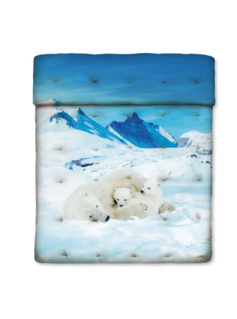 Bears in the snow de Bassetti Imagine. Cubrecama acolchado